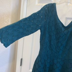 Size 10 teal lace cut outs dress